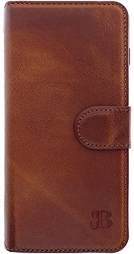 Burkley Handyhülle für Samsung Galaxy A52 Leder-Hülle kompatibel mit Galaxy A52 Handytasche - TÜV geprüfter RFID/NFC Schutz - Kartenfach (Sattelbraun)