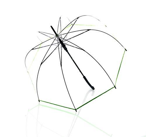 Doppler Langschirm derby Hit Lang AC Transparent - Automatik - Stabil und Windresistent - Glockenform - Grün