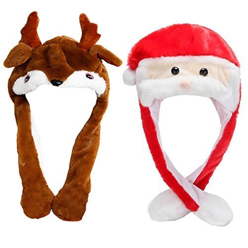 liuer 2PCS Cappelli di Babbo Natale,Cappello Babbo Natale Peluche Cappello Orecchie Muoversi Cappello Natale per Adulti Bambini(Babbo Natale e Alce Modello)