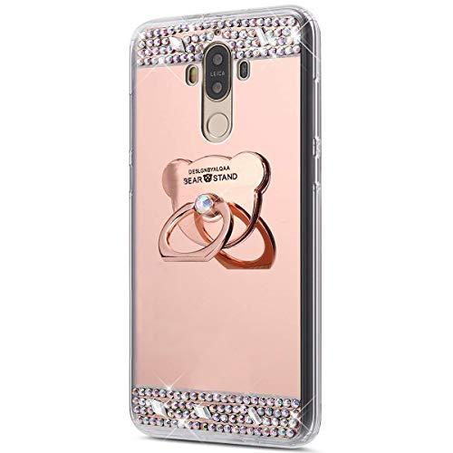 Jinghuash Compatible avec Huawei Mate 9 Coque,Miroir Housse Paillette Brillante Strass avec Ours 360 Rotation Bague Support Ultra Mince TPU Silicone Anti-Choc Miroir Coque Etui-Or Rose