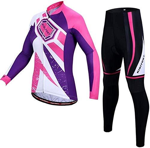 Cycling Long Sleeve Jersey Set,Women Clothing MTB Uniform Sportswear Outdoor Quick Dry Cycling Kit,A-XXL