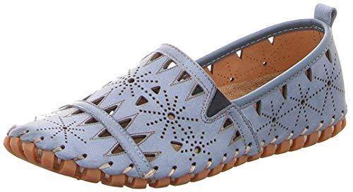 Gemini 031225-02 Schuhe Damen Ballerinas Slipper Mokassins, Schuhgröße:38 EU, Farbe:Blau