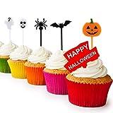 Kesote 100x Cupcake Topper Tortendeko Halloween Kuchendeko Fruit Picks Kuchen Dekoration Tortenstecker Kinder Party, Kürbis Fledermaus Schädel Geist Spinne - 4