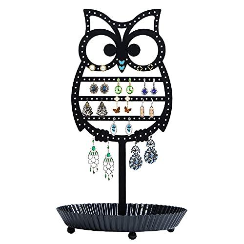 NIKKY HOME Soporte organizador para pendientes, soporte de metal para joyas, árbol, mesa, búho, oreja, torre, con bandeja de anillo para niñas y niños (134 agujeros), color negro