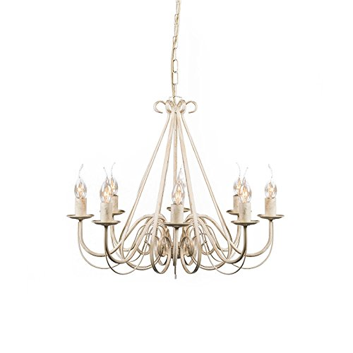 QAZQA - Landhaus | Vintage Antiker Kronleuchter | Chandelier creme 8-Licht - Giuseppe 8 | Wohnzimmer | Küche - Stahl Rund - LED geeignet E14