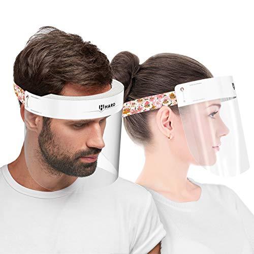 HARD 1x Pro Visera de protección facial, Certificado médico, Protector de plástico Antivaho, Pantalla protectora para adultos, Hecho en Alemania - Blanco/Floral
