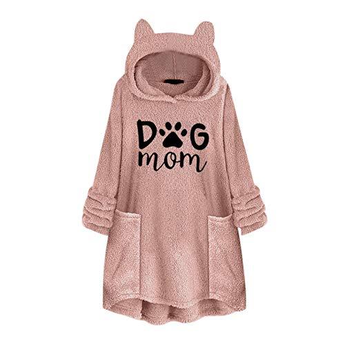 WYZTLNMA Hoodies Women Fleece Embroidery Cat Ear Hooded Plus Size 5XL Autumn Winter Long Slevee Hoodie with Pocket Top Blouse Pink