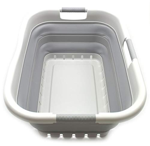 SAMMART Collapsible 3 Handled Plastic Laundry Basket - Foldable Pop Up Storage Container/Organizer - Portable Washing Tub - Space Saving Hamper/Basket (3 rechteckig behandelt, Grau/Grau)