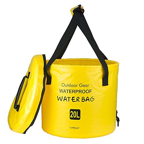 Cubo plegable con Tapa, YUMQUA Cubo plegable portátil Contenedor de agua Lavabo para acampar Pesca Senderismo Viajes Supervivencia al aire libre Jardinería Lavado de autos (Amarillo, 10L)