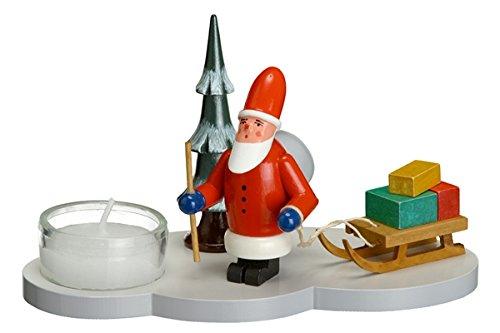 Kerzenhalter Teelicht Weihnachtsmann mit Schlitten und Baum Höhe ca. 8cm NEU Kerzenständer Kerzenleuchter Weihnachten Schneeball Figur Seiffen Erzgebirge Holz Winterdeko Tischdeko Dekoration