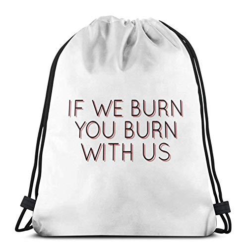 LREFON Mochila Saco Si te quemamos, te quemas con Nosotros - Los Juegos del Hambre Logo-Mochila Saco-Negro