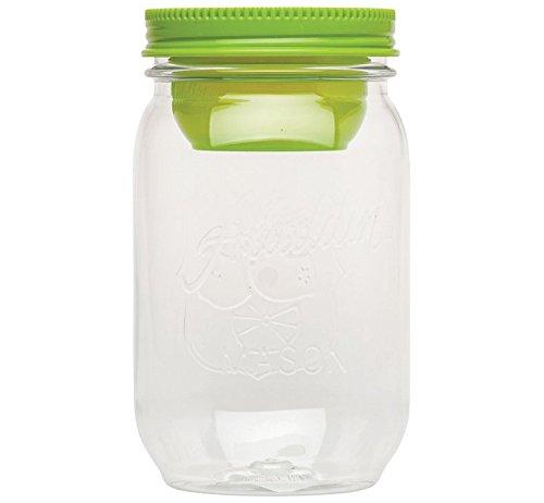 aladdin 10-01828-003 Salatbehälter Classic Mason Salad Jar, 1 L mit getrenntem Dressingbehälter, fern (grün)