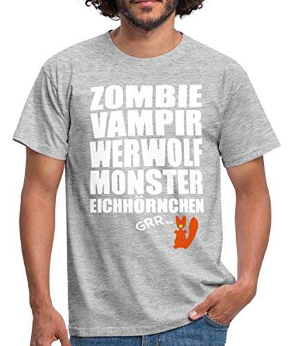 Zombie Werfolf Monster Eichhörnchen Männer T-Shirt, 3XL, Grau meliert