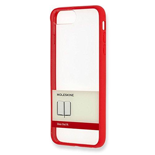 Moleskine hard etui (doorzichtige papieren banderol), Hoes voor Apple iPhone 7Plus, rood