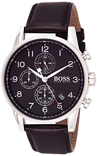 Hugo Boss Herren Chronograph Quarz Armbanduhr mit Lederarmband