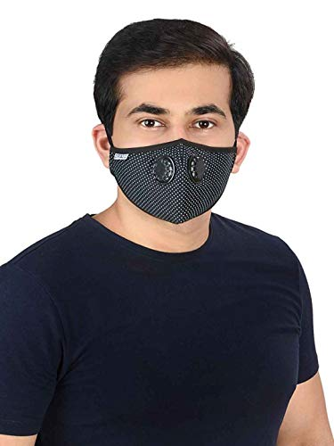 Onroad Co. Reusable Anti Pollution Mask with N95 grade filter, Gris Series - Ideal for 60-90 kg weight range (Black; Large)