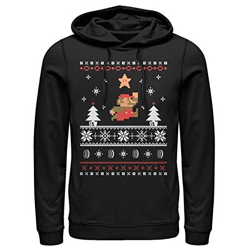 Nintendo Men's Mario Ugly Christmas Sweater Black Hoodie