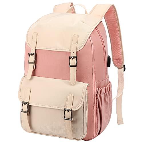 LOVEVOOK Damen Rucksack für Schule, Wasserdicht Groß 15,6 Zoll Laptoprucksack Schulrucksack Jungen Teenager Mädchen mit USB Ladeanschluss, Daypack für Reise Uni Camping Rosa