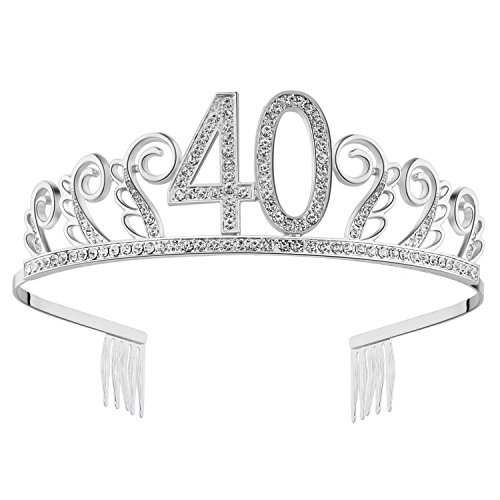 BABEYOND Crystal Rhinestone Tiara Princesa De La Corona De Cumpleaños Coronas De Plata Diamante Feliz 18/20/21/30/40/50/60/90 Cumpleaños (40 Años Plata)