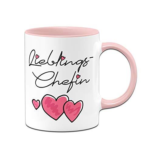 Tassenbrennerei Tasse mit Spruch Lieblings Chefin - Geschenk zum Abschied (Rosa)