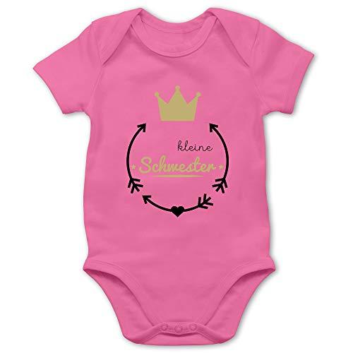 Shirtracer Geschwisterliebe Baby - Kleine Schwester - Krone - 1/3 Monate - Pink - Body Kurzarm Prinzessin - BZ10 - Baby Body Kurzarm für Jungen und Mädchen