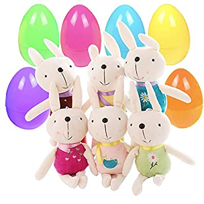 Easter Eggs Easter Basket Stuffers Fillers Filled 6 Pack Surprise Eggs with Rabbit Dolls Inside, Colorful Pre Plastic Easter Eggs For Kids Easter Gifts