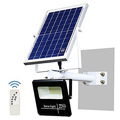 YQL 25W/40W/60W/100W Outdoor LED Solar Street Flood Light IP67 Waterproof White 6500K Auto On/Off Dusk to Dawn with Remote and Multi-functional bracket for Exterior Roads Yard Garden Pathway Landscape
