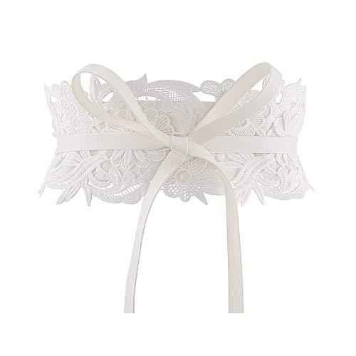 CHIC DIARY Damen Spitze Bindegürtel Breite Taillengürtel Wickelgürtel Elegant Vintage Dekorativ Kleidgürtel Hüftgürtel