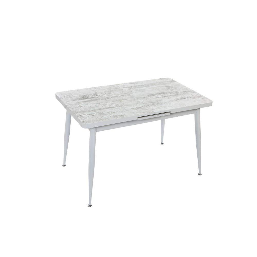 we point Tavolo Allungabile in MDF Shabby Struttura Metallo Bianco 120//150x75 Cm