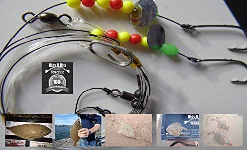 Sea fishing Rigs x 10 - Two hook flatty flapper sz 1 shore rigs - Dab, Plaice, Flounder, Turbot, Sole