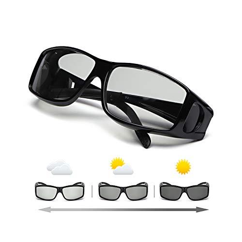 IGnaef Gafas De Sol Polarizadas Fotocromáticas Para Hombre Para Conducir Deporte Al Aire Libre con- Protección 100% UVA/UVB (Negro)