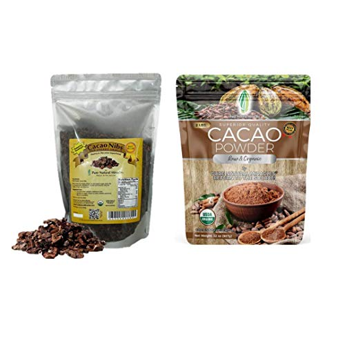 Pure Natural Miracles Cacao Nibs 1 lb and Cacao Powder 2 lb, Raw Organic Unsweetened