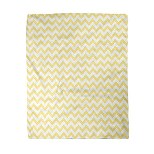 rouihot 50x60 Inches Flannel Throw Blanket Yellow Grey Pattern in Zig Zag Classic Chevron Line Home Decorative Warm Cozy Soft Blanket for Couch Sofa Bed