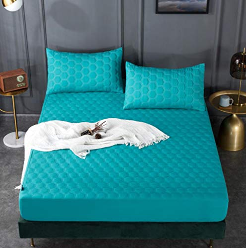 XLMHZP Protector de colchón Impermeable Acolchado en Relieve de Color sólido Blanco Funda Estilo sábana Ajustable para colchón Almohadilla Suave y Gruesa para Cama-E_150x200cm + 30cm