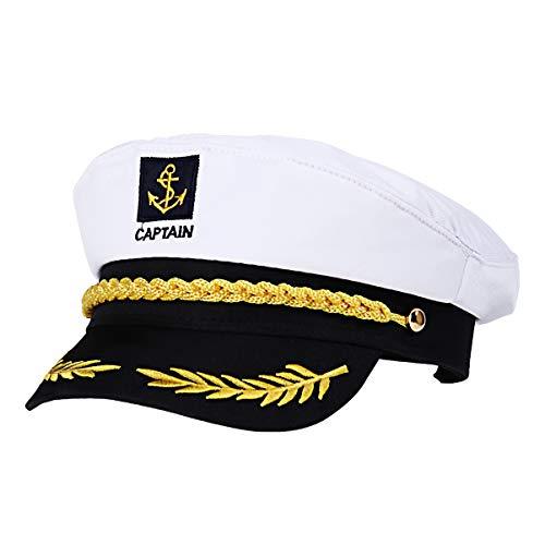 KESYOO Unisex Verstelbaar Schip Boot Hoed Jacht Boot Schip Kapitein Kostuum Hoed Jacht Zeeman Hoed Voor Volwassenen en Kinderen (Wit)
