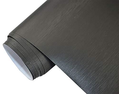 Neoxxim 8€/m Premium - Auto Folie - GEBÜRSTET Aluminium SCHWARZ Brushed 200 x 150 cm - blasenfrei mit Luftkanälen ca. 0,15mm dick