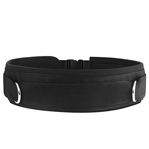HYVAWO Waist Belt Neoprene Padded Gym Pulley Strap with Rings for Cable Machines Fitness Exercise Speed Agility Resistance Training