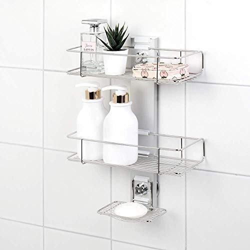 BATHBEYOND Shower Caddy Suction Cup Tier Shower Shelf -...
