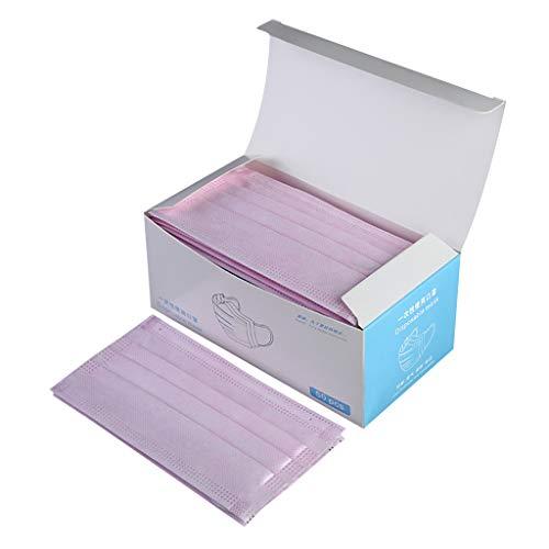 PPangUDing 50 Stück 3-lagig Staubschutz mit Ohrschlaufen Unisex bequem atmungsaktiv Staubdicht Mundschutz Bandana (Rosa, 50PCS)