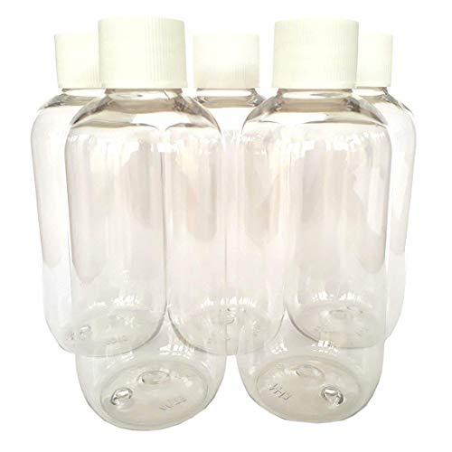 Simply Essential - Botellas de plástico con tapón de Rosca Acanalado Blanco, 100ml, 5 Unidades