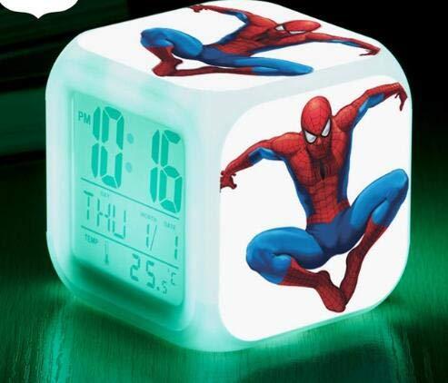 Yyoutop 7 Color Digital Clock LED Alarm Clock Cute Cartoon Night Light Children Alarm Clock Seven-Color Flash Digital Alarm Clock Night Light