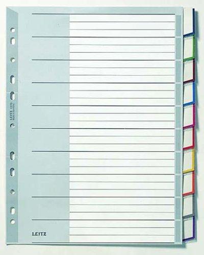 Leitz Register für A4, Deckblatt aus Karton und 10 Trennblätter aus Kunststoff, Taben mit auswechselbaren Einsteckschildchen, Grau, Robuster Kunststoff, 12700000