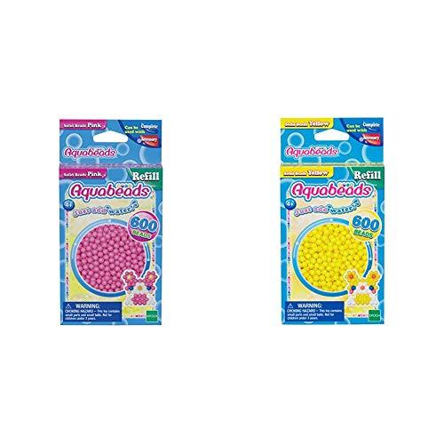 Aquabeads 32588 Perlen Bastelperlen nachfüllen pink & 32528 Perlen Bastelperlen nachfüllen gelb