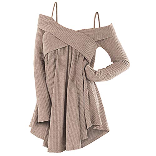 Rosegal Frauen Kalt Schulter Langarm Crossover Sweater Strickpullover Tunika Top (XL, LICHT Khaki)