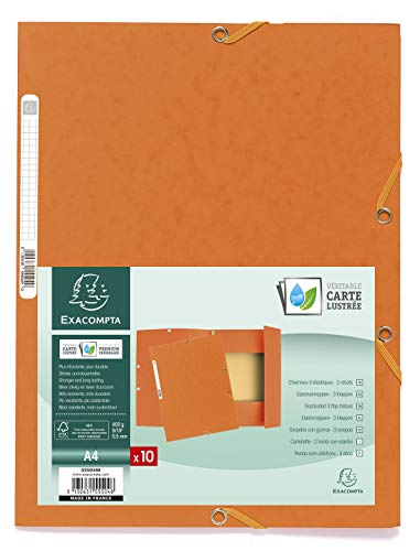 Exacompta 55504E Sammelmappe (Manila-Karton, Gummizug, 3 Klappen 400g, DIN A4) 1er Pack, orange