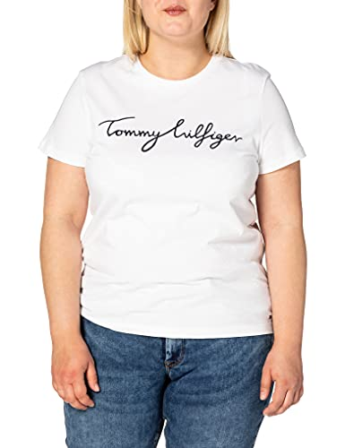 Tommy Hilfiger Mujer Heritage Crew Neck Graphic Tee Camiseta Not Applicable, Blanco (Classic White 100), XX-Small