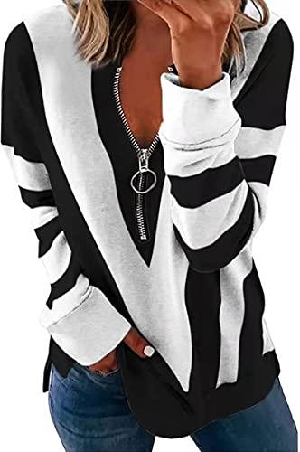 Eogrokerr Camiseta de manga larga con estampado de rayas en forma de V para mujer y mujer, con cremallera, blanco, L