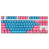 104 Key PBT Double Color Backlight Mechanical Keyboard Keycap Universal Column for Ikbc Cherry MX Mechanical Keyboard (Pink Blue)