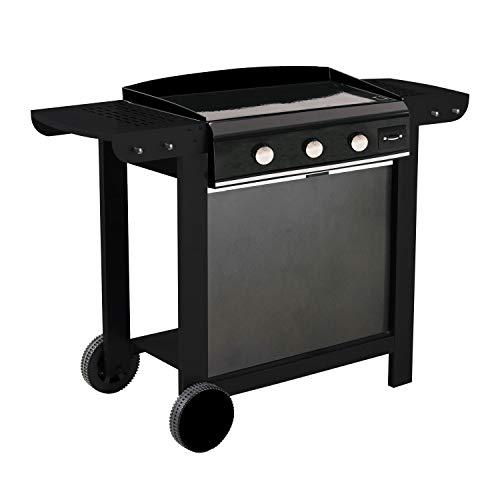Cook'in Garden - Plancha au gaz en Fonte émaillée sur Chariot FINESTA 3-3 brûleurs 7,5kW