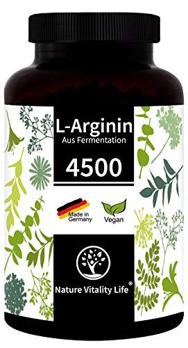 Nature Vitality Life® L-Arginin hochdosiert ohne Zusatzstoffe - MADE IN GERMANY - 365 vegane Kapseln - 4500mg L-Arginin HCL pflanzlich (=3750mg reines L-Arginin) je Tagesdosis